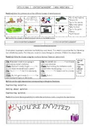 English Worksheet: ENTERTAINMENT / BIRTHDAY PARTY