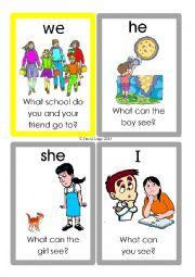 English Worksheet: Pronoun Flashcards: 49-60 of 70 including backs