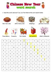 English Worksheet: Chinese New Year word search
