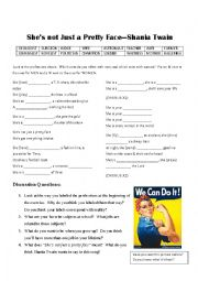 English Worksheet: Shania Twain--She�s not just a pretty face