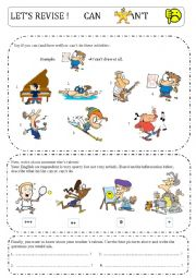 English Worksheet: Talents - can and can�t exercises