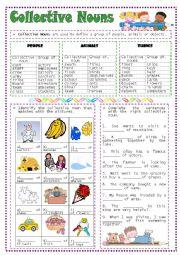 English Worksheet: Collective Nouns