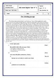English Worksheet: Mid-term English Test N° 2(bac )