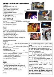 English Worksheet: Empire State Of Mind - New York - Alicia Keys