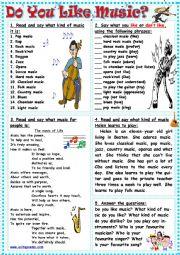 English Worksheet: Do You Like Music?