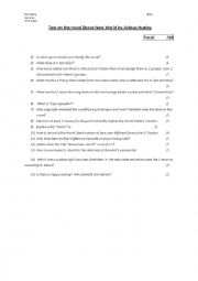 English Worksheet: Test on Brave New World