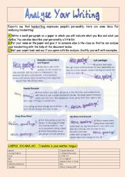 Analyse Your Writing - fun pair work, adjectives, personality traits