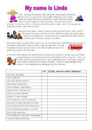 English Worksheet: My name is Linda