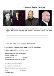 English Worksheet: Phil Collins - Another Day In Paradise