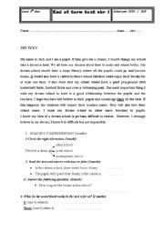 English Worksheet:  end of term test for 8th formers (Tunisia)