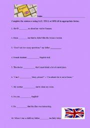 English Worksheet: Say, tell or speak