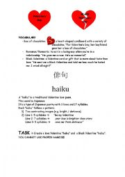 English Worksheet: HAIKU Valentine�s and Black Valentine�s Poems
