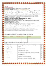English Worksheet: unit 1 :lesson 6 :package tours(part 2)