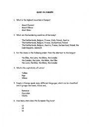 English Worksheet: QUIZ ON EUROPE