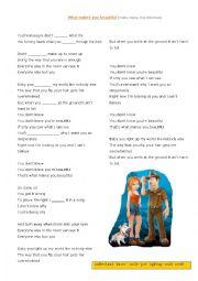 English Worksheet: What makes you beautiful
