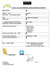 English Worksheet: Find out more about Robinson Crusoe