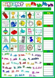 English Worksheet: Digraphs - sh, ch, th, ph, wh
