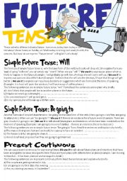 English Worksheet: Future Tenses (Will,Be going to and Present continuous)