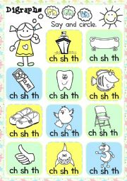 English Worksheet: Digraphs - sh, ch, th - multiple choice