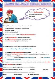 English Worksheet: PRESENT PERFECT CONTINUOUS - RULES AND EXERCISES