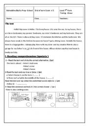 English Worksheet: end of term test n�2(7th form)