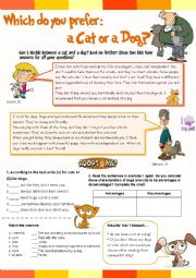 English Worksheet: Which do you prefer: a cat or a dog? Activites for kids• Comprehension