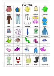English Worksheet: PIctionary- Clothes