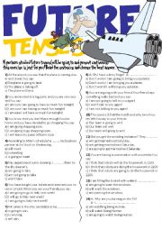 English Worksheet: Future Tenses Exercises(Will,Be going to and Present continuous)