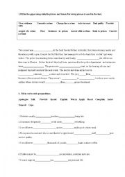 English Worksheet: Phrasal verbs, idioms, crime and punishment