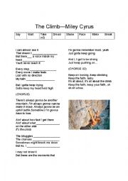 English Worksheet: Miley Cyrus--The Climb