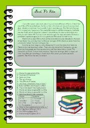 english worksheets book vs film. Black Bedroom Furniture Sets. Home Design Ideas