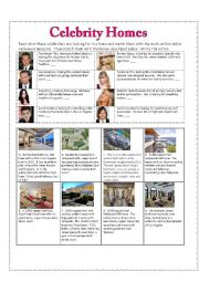 Celebrity Homes Reading Exercise