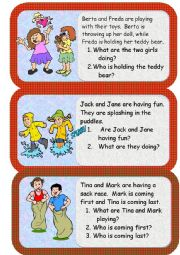 English Worksheet: mini reading and writing comprehensions