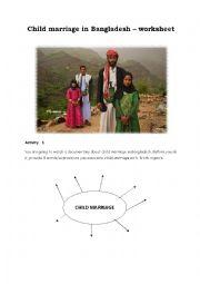 English Worksheet: Child marriage in Bangladesh 1/2 ( worksheet + video link) FULLY EDITABLE