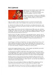 English Worksheet: Bollywood comprehension exercise