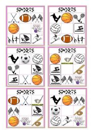 English Worksheet: SPORTS BINGO II