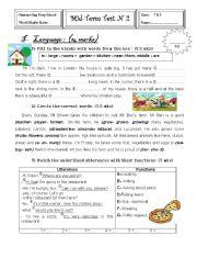 English Worksheet: Mid-Term Test 2 (7th form)