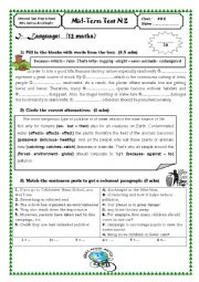 English Worksheet: Mid-Term Test 2 (9th form)