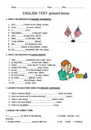 English Worksheet: PRESENT TENSE TEST