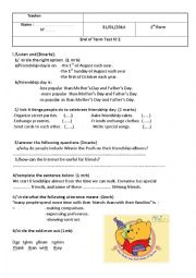 English Worksheet: mid-term test 2 1st form