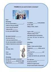 English Worksheet: 1/2 Frozen Song: Do you want to build a Snowman