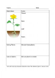 English Worksheet: Cornell Notes  Parts of a Plant and Uses of Plants