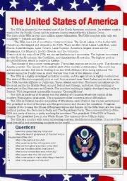 English Worksheet: The United States of America text