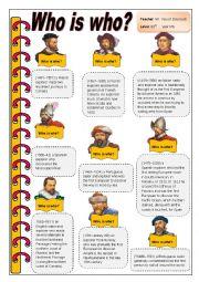 English Worksheet: Who is who?  ( European Explorers)