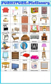 English Worksheet: Furniture :pictionary