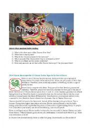 English Worksheet: The Chinese horoscope