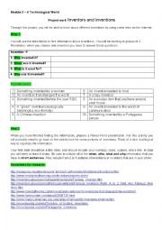 Inventions - project work assignment