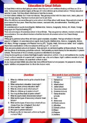 English Worksheet:  Education in Great Britain, reading, pre and after reading comprehension tasks