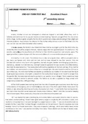 English Worksheet: 2nd form end of term test