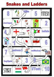 English Worksheet: Snakes and Ladders Nationalities